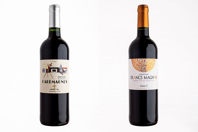 Les bouteilles de vin du chateau Carlmagnus et Francs Magnus